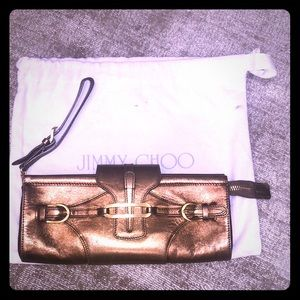 Gold leather jimmy choo evening bag